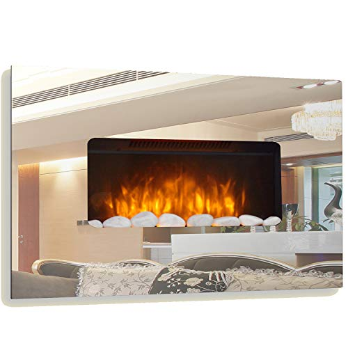 Electric Fire Fireplace Mirror Glass Designer Large Wall Mounted Flicker Flame