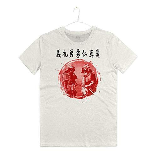 INSIDETSHIRT Maglietta Samurai Le Sette Virtù Arti Marziali Japan Bushido T-Shirt Man La Via del Guerriero (Warm White, L)