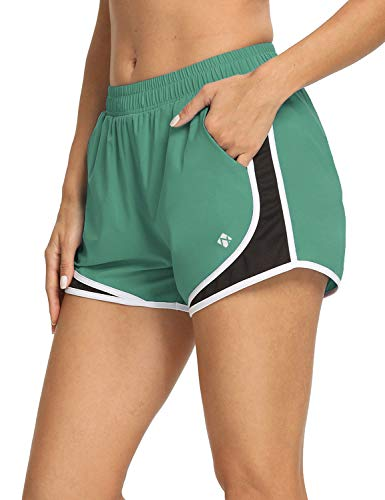 NOMINATE Womens 3 Inches Lightweight Running Shorts with Liner Quick Dry Workout Gym Shorts with Pockets Olive Green