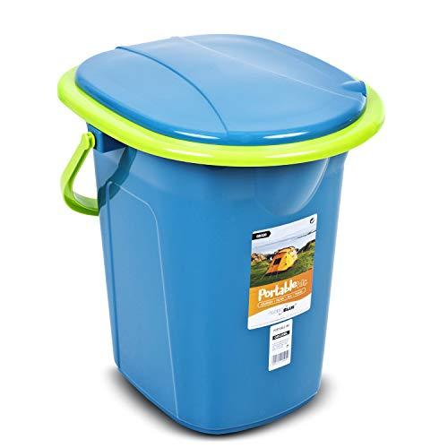 Green Blue GB320GO Toilette Turistica Toilette Portatile Secchio Portatile 19 Litri Diversi Colori Viaggio Campeggio WC Resistente(Turchese-Lime)