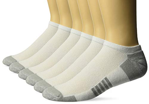 Amazon Essentials Men's 6-Pack Performance Cotton Cushioned Athletic No-Show Socks, White, Shoe Size: 6-12