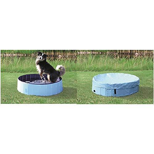 TRIXIE 39483 Hundepool, ø 160 × 30 cm, hellblau/blau + Abdeckung für Hundepool # 39483, ø 160 cm, hellblau