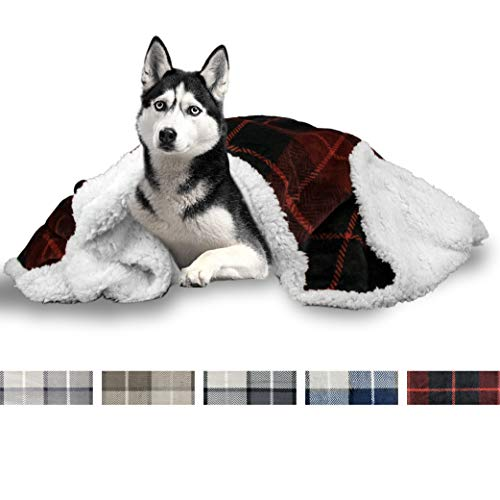 PetAmi Premium Pet Blanket for Dog, Puppy | Plush Pet Fleece Plaid Throw for Medium & Large Dogs | Super Soft, Reversible, Warm, Sherpa Microfiber Cat Blanket | 60 x 40 Inches