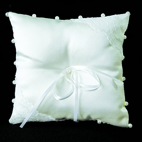 Ring Bearer Pillow -- DIY Wedding Decorative Bridal Ring Jewelry Ivory White -- with Ties 5 x 5 inches -- by Yazycraft