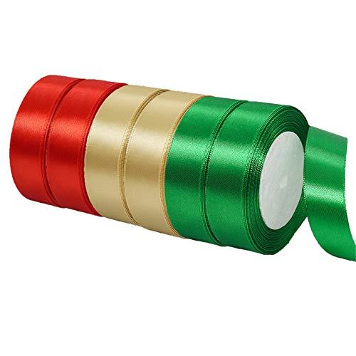 6 Rollos 25 mm x 22 m Cinta de Poliéster Satinado,Cinta de Organza Roja/Verde/Dorada Cinta de Satén Cinta de Tela de Cinta de Regalo para Manualidades,Envolver San Valentín,Bodas,Navidad,Fiestas