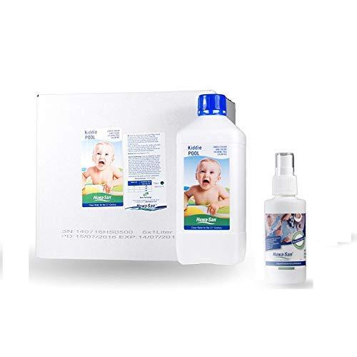 Huwa-San KiddiePOOL Wasserpflege für Planschbecken und Kinder-Pools ohne Chlor Saisonvorrat mit Preisvorteil (6 x 1L für 6m³) + Gratisflasche Travel