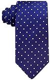 Navy Blue & White Polka Dot Necktie for Him - Woven Necktie Navy Blue - Polkadot Ties for Groom
