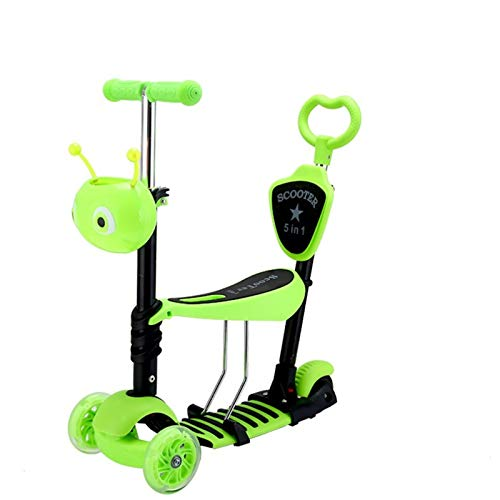 ZXJ 5-en-1 Kick Scooter 3 Ruedas con Asiento Ajustable Y Desmontable Manija De Empuje Cubierta Ancha De La PU Intermitente Ruedas para Niños De 3-8 Años (Color : Green)