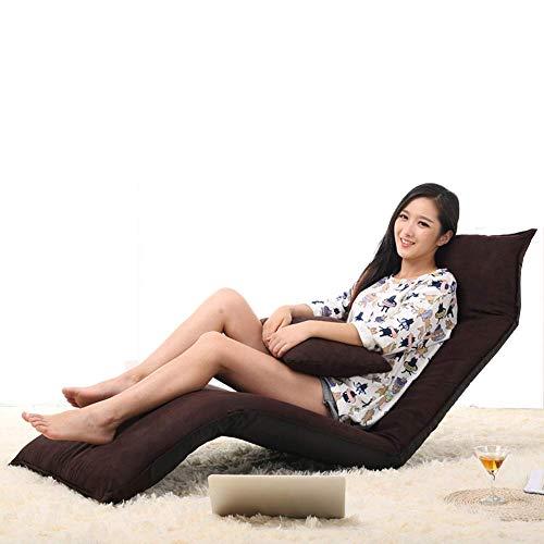 ZEFENG Silla de Ocio para el hogar FENGZE - Sofá salón Cama Plegable de Piso Ajustable tumbonas para Silla de Asiento de colchón futón con Almohada (Color : Brown)