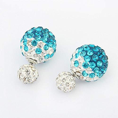 Daeou Boucles d'oreilles pour Femme XJH Les Boucles d'Oreilles en Alliage 15 * 15mm Candy Fashion Couleur Ball Diamond Boucles d'Oreilles