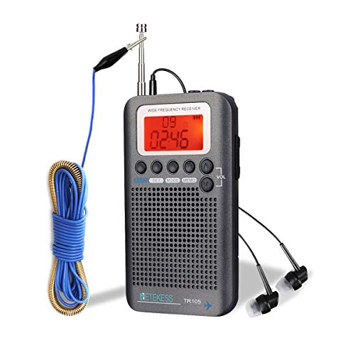 Retekess TR105 Air Band Radio Receiver, Portable FM AM SW Full Band Radio, CB Receiver Digital Alarm Speaker with Extend Antenna LCD Display(Gray)