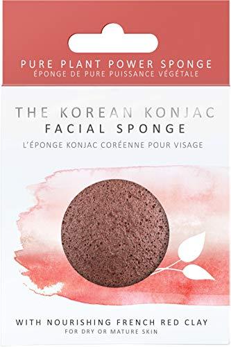 The Konjac Sponge Co Premium visage Puff Red Clay – éponge Konjac visage peaux sèches et matures, couleur rouge