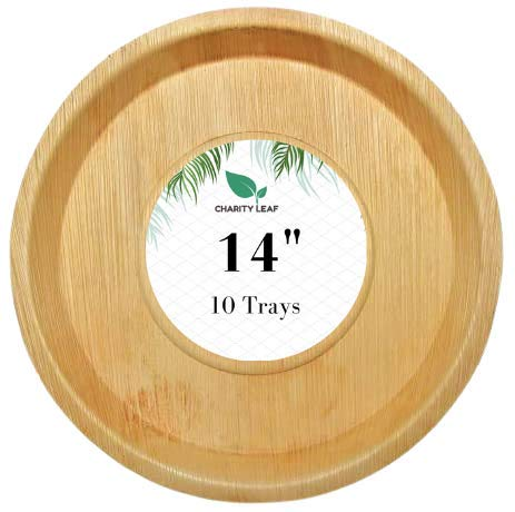 Charity Leaf Disposable Palm Leaf Platter Like Bamboo Round Platter Serving Tray  All Natural and Biodegradable   Weddings, Charcuterie Boards, BBQs, and Catering   14' Inch Round (10 Trays)