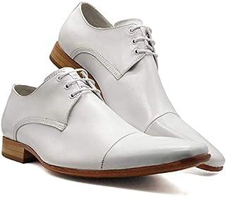 Sapato Social Italiano Masculino Bico Fino Branco Sola De Couro MOD 307