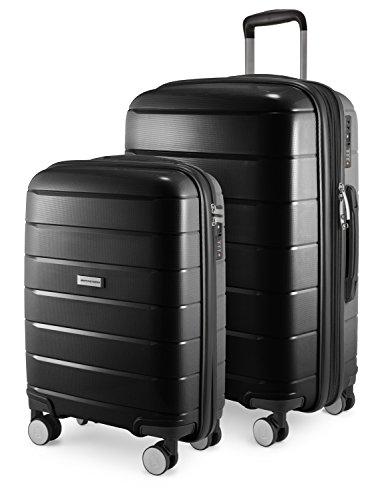 HAUPTSTADTKOFFER - PRNZLBRG - 2er Kofferset Trolley-Set Rollkoffer Reisekoffer Handgepäck und mittelgroßer Koffer (55/65 cm), ABS-Hartschale TSA, 4 Spinner-Doppelrollen, Schwarz