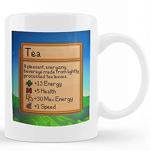 Taza de té de Stardew Valley, taza inspirada en Stardew Valley, estadísticas de té, regalo de jugador, regalo de cumpleaños, taza de té, estadísticas de té, sublimación, divertidas tazas de café de ce