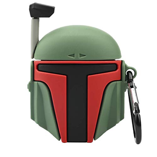 Fashion Shockproof Protective Case for Apple AirPod 2 1, 3D Soft Silicone Toy Helmet Boba Fett Airpods Case Cover Wireless Charging Box Anti-Lost Keychain Bag Decor (AirPods 2 1 Case, Helmet Ⅱ)