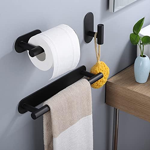 Deprik Negro Toallero 30 cm con portarrollos de papel higiénico adhesivo gancho, 3 piezas sin perforación Juego de accesorios para el baño, acero inoxidable
