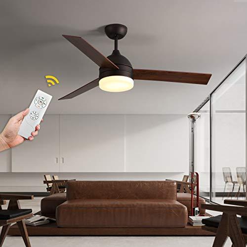 VISDANFO 122 cm LED deckenventilator mit beleuchtung, deckenventilator mit fernbedienung, geeignet für Winter- und Sommerdeckenventilatoren mit Beleuchtung, leiser Ventilator