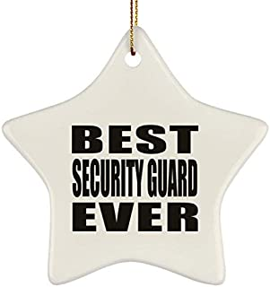 Athena Bacon Best Security Guard Ever Star Ornament, Xmas Christmas Tree Decor-ation, Best Funny Gag Gift Idea for Friend Birthday Baby Christmas Xmas Engagement Wedding Anniversary