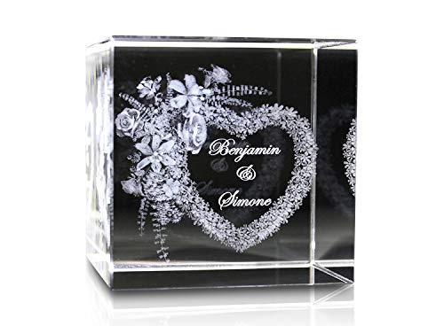 VIP-LASER 3D Glaskristall XL Blumenherz mit Zwei Wunschnamen graviert verliebte Paare