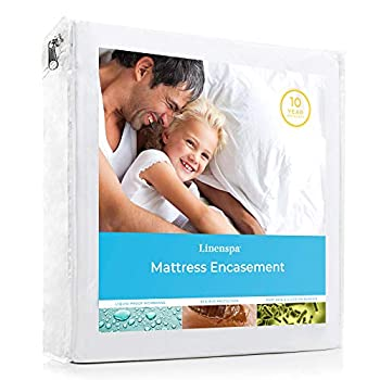 LINENSPA Waterproof Bed Bug Proof Encasement Protector - Blocks out Liquids Bed Bugs Dust Mites and Allergens