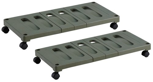 Belca OUC2-RG Storage Shelf, Push-in Storage Carrier, Pack of 2, Width 14.6 x Depth 30.7 x Height 3.9 inches (37 x 78 x 10 cm), Eco Green, With Casters, Made in Japan