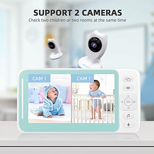 Monitor para bebé con pantalla LCD, visión nocturna, conversación bidireccional, sensor de temperatura, recordatorio de alimentación, 8 cunas, alta capacidad de batería, color blanco