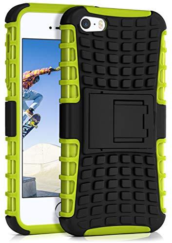 ONEFLOW Tank Hülle kompatibel mit iPhone 5s / 5 / SE (2016) - Hülle Outdoor stoßfest, Handyhülle mit Ständer, Handy Hardcase Panzerhülle, Grün