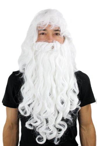 WIG ME UP ® - PW0187-P60 Perücke & Bart Weihnachtsmann Zauberer Dumbledore Wig