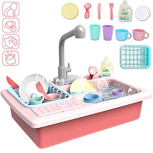 deAO Kinderspielset Pretend Kitchen Sink mit simuliertem Wasserhahn und enthaltenem Küchenzubehör - Rot