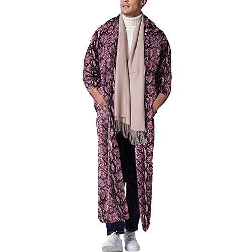Mens Linen Robes Cardigan Drucken Saudi-Arabische Kleider Muslim Long Shirts,XL
