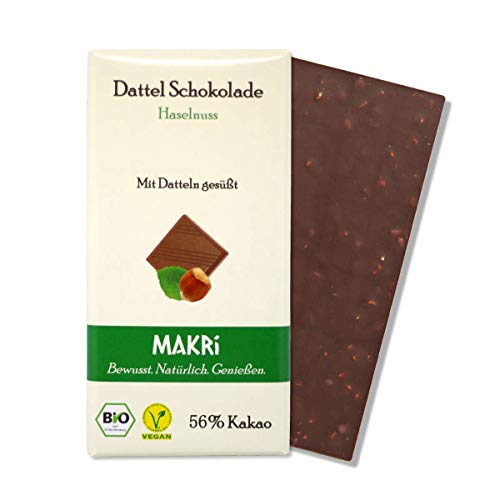 MAKRi Dattel Schokolade – Haselnuss 56% | Mit Datteln gesüßt | Vegan & Bio | Ohne raffinierten Zucker (5x 85g)