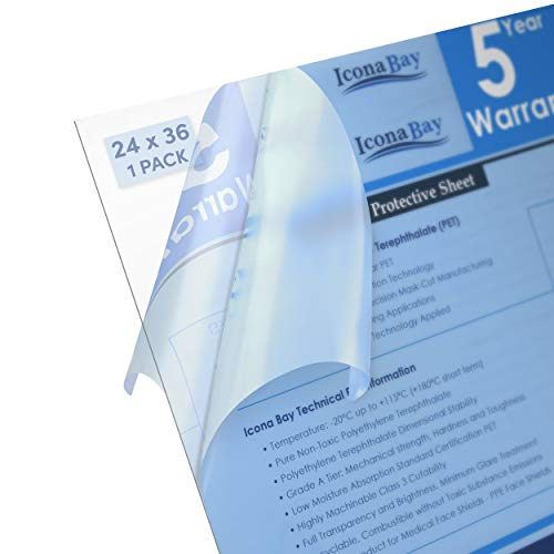 Icona Bay 24x36 Clear PET Plastic Plexi Glass, PET Plastic Sheets are Ideal for DIY Art Projects & Protective Barriers