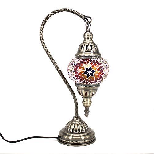 Marokkanische Lampe Mosaik Glaslampe Vintage für Schlafzimmer Nachttischlampe Elegant Swan Neck/Bronze Basis (Braun)