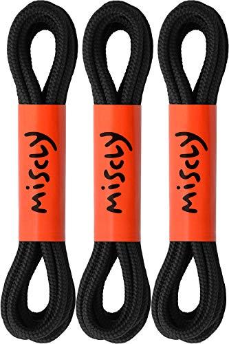 Miscly – Schnürsenkel Rund, Extrem Reißfest [3 Paar] für Arbeitsschuhe, Stiefel und Wanderstiefel - Nylon und Polyester - Ø 5 mm (137 cm, Schwarz)