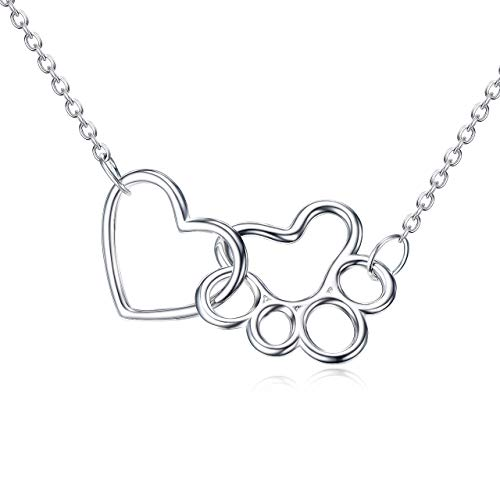 ONEFINITY Paw Print Necklace Sterling Silver Dog Paw Necklace Pet Cat Dog Paw Heart Pendant Jewelry...