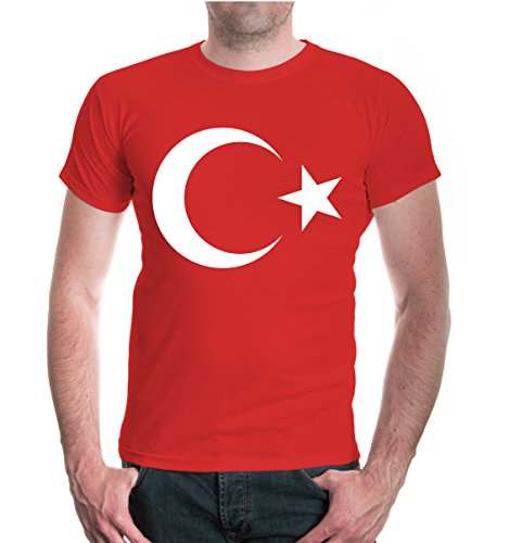 buXsbaum® Herren Unisex Kurzarm T-Shirt Turkey Flag Full Size Türkei Flagge Ländershirt | L red-White Rot