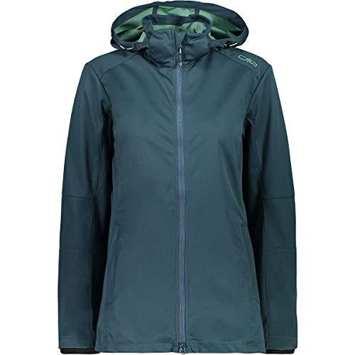CMP – F.LLI Campagnolo Damen Komfort Long Fit Leichte Softshelljacke Jacke, Petrol, D46