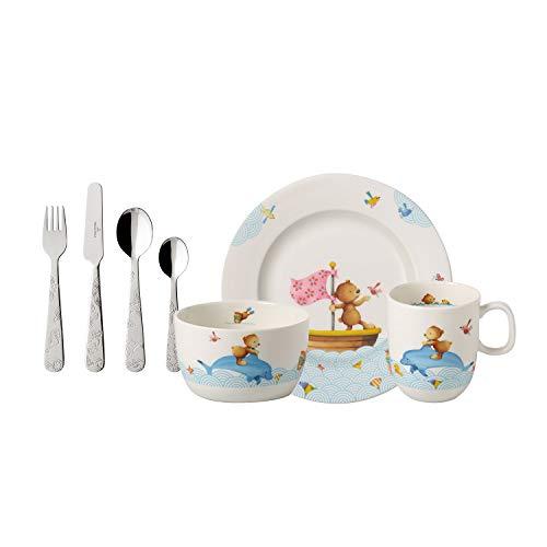 Villeroy & Boch Happy as a Bear Vajilla infantil, 7 piezas, Porcelana Premium/Acero inoxidable, Blanco/Multicolor