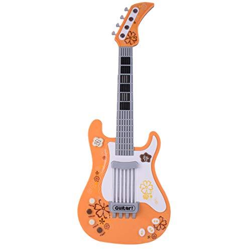 Foxom Guitarra Electrica Niños - Infantil Guitarra Rock Guitarra Juguetes Sin Cuerdas - Instrumento Musical para Niño y Niña de 3 años + (Naranja)