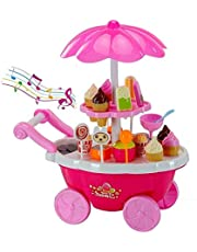 Authfort Luxury Sweet Shopping Battery Operated Ice Cream Trolley Pretend Roll Plastic Play Set with 360° Rotation, LED Lights and Music Learning and Educational Toy for Kids ( 30 Pieces)