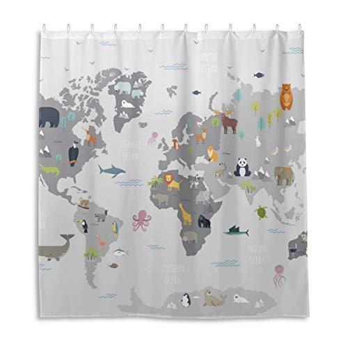 Orediy Cortinas de ducha impermeables con mapamundi de animales salvajes, 100% poliéster, antimoho, cortina de baño con 12 ganchos para decoración de baño, 168 x 183 cm