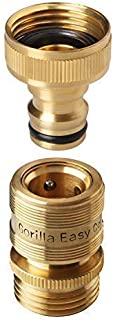 GORILLA EASY CONNECT Garden Hose Quick Connect Fittings. ¾ Inch GHT Solid Brass.