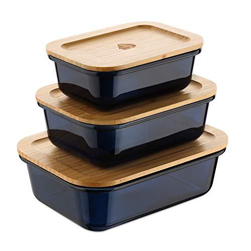 Navaris 3X Contenedor de Vidrio con Tapa - Set 3X Recipiente para Comida Aptos para congelador - 3X Fiambrera para Alimentos sin BPA - Tapas de bambú