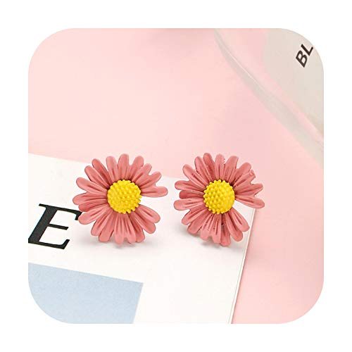 Fashion Pink Statement Earrings For Women Korean Acrylic Round Geometric Flower Drop Earring Female Girls Gold Brincos Jewelry-S19