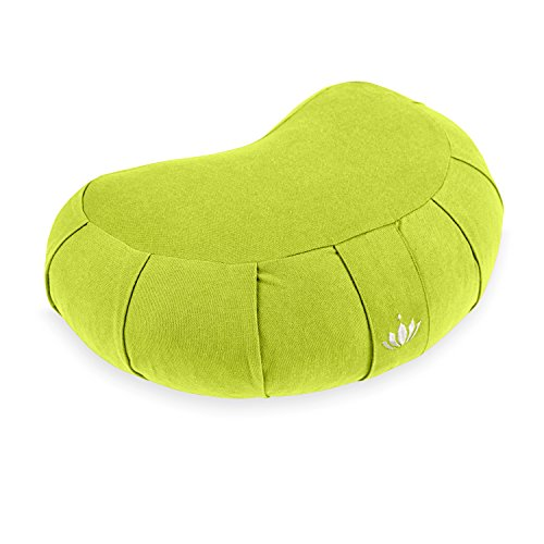 Lotuscrafts Zafu Meditationskissen Halbmond Siddha - Sitzhöhe 15cm - Yogakissen Halbmond mit Dinkelfüllung - Waschbarer Bezug aus Bio-Baumwolle - GOTS Zertifiziert