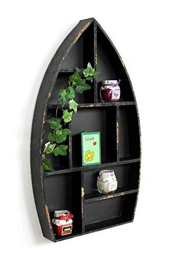 DanDiBo Setzkasten Boot Sammlervitrine Schwarz 12111 Loft 58 cm Shabby Landhaus Wandregal