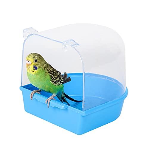 HMEI Parrot Bath Box Jaula Multifuncional Baño Aves Accesorio Aves Azul Añado Pájaro Parakeet Macaw, Finch 5.5x5.3x5.1