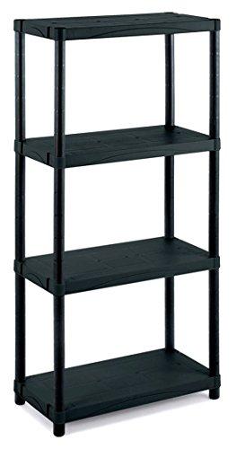 Kreher XL Kunststoffregal, Lagerregal, Regal mit 4 Böden in Schwarz. Maße 60 x 30 x 132 (H) cm....